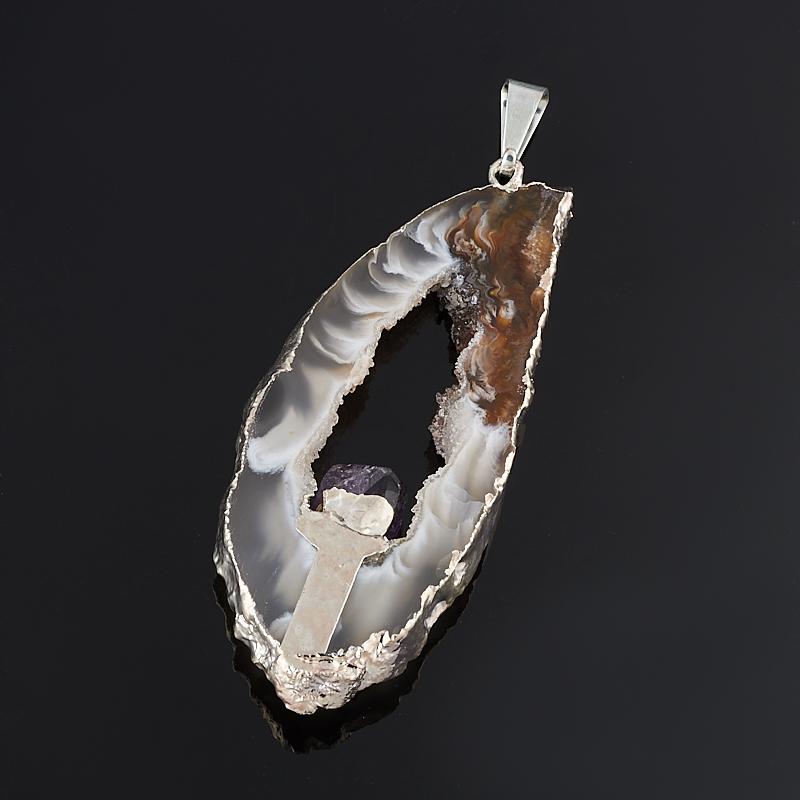 Кулон агат серый срез с кристаллом аметиста Бразилия (биж. сплав) 4-6 см