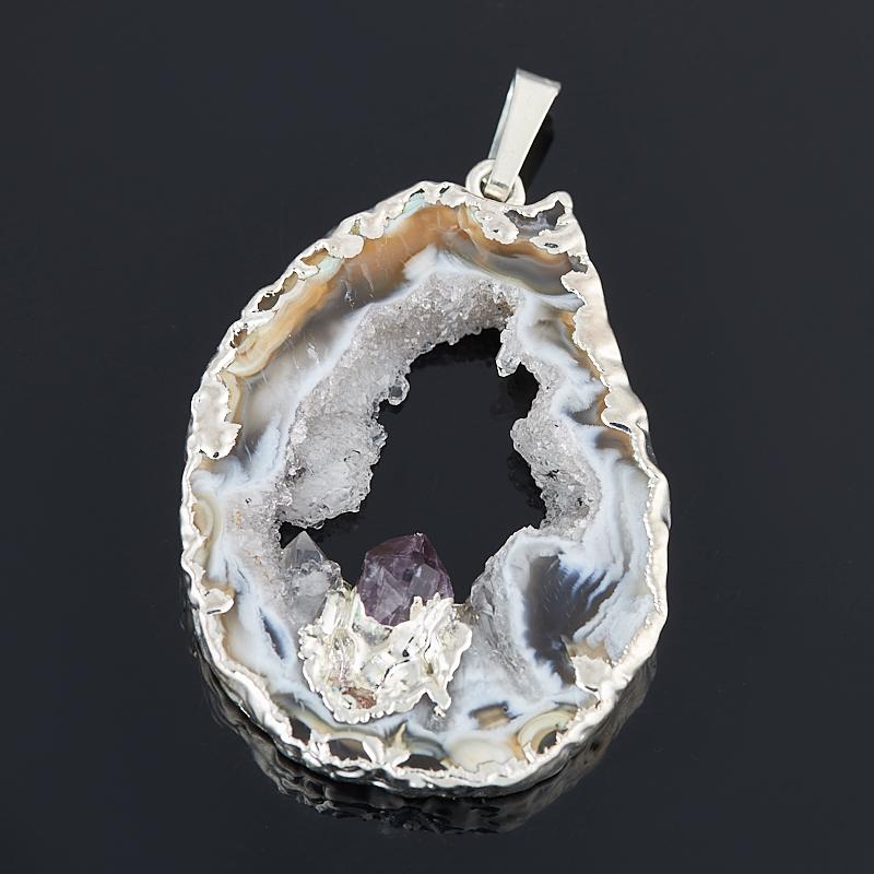 цена Кулон агат серый срез с кристаллом аметиста (биж. сплав) 4-6 см онлайн в 2017 году