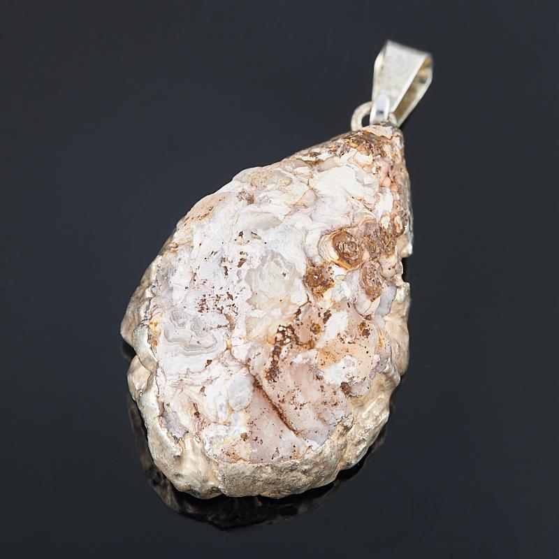 Кулон агат серый жеода с кристаллом аметиста Бразилия (биж. сплав) 3-4 см