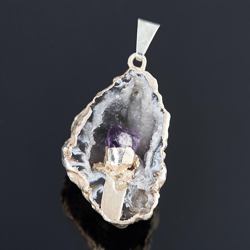 Кулон агат серый жеода с кристаллом аметиста (биж. сплав) 3-4 см
