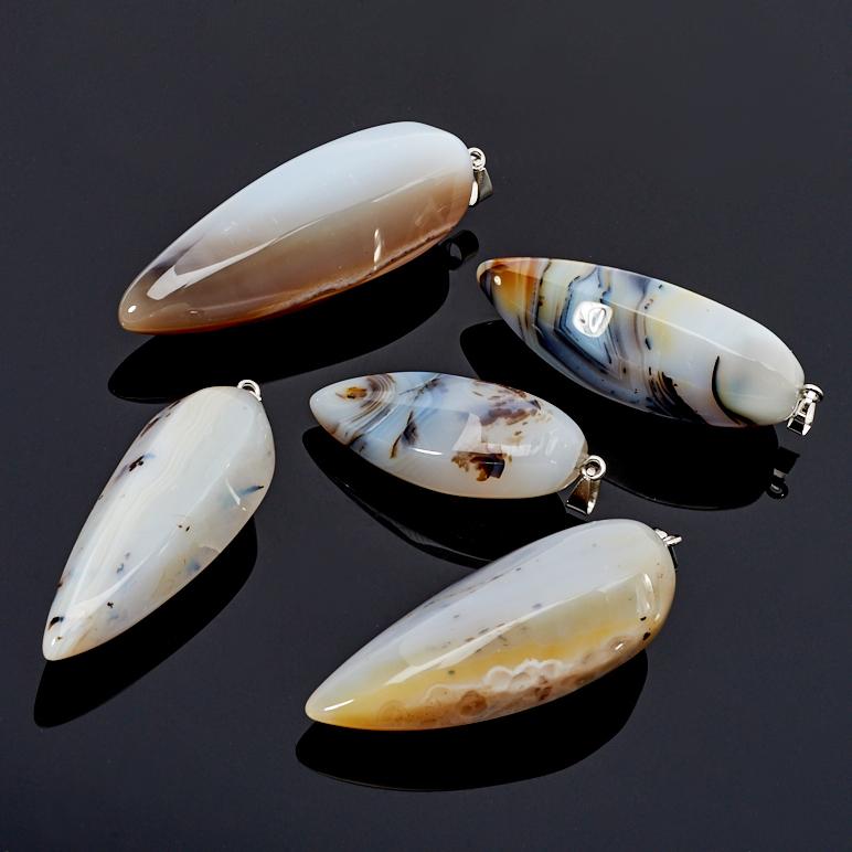 Кулон агат серый (биж. сплав) 5,5-7,5 см