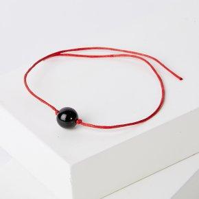 Браслет гагат Грузия красная нить От сглаза 10 мм регулируемый (текстиль)