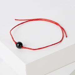 Браслет гагат Грузия красная нить От сглаза 8 мм регулируемый (текстиль)