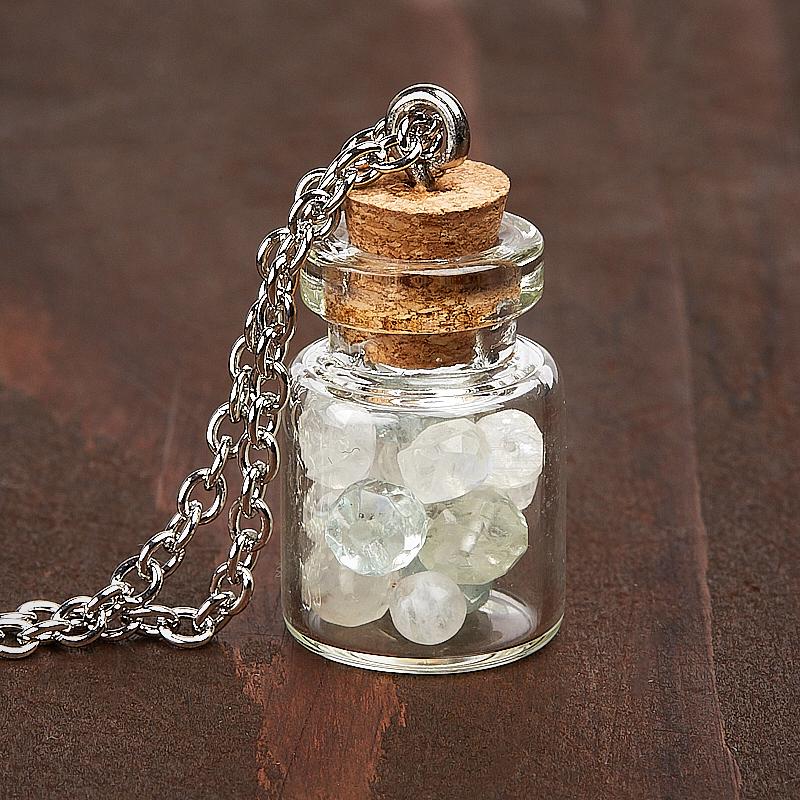 Кулон аквамарин, лунный камень бутылочка (биж. сплав) 3 см