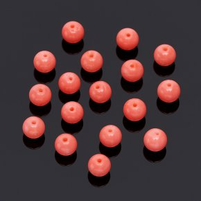Бусина коралл розовый Индонезия шарик 4,5-5 мм (1 шт)