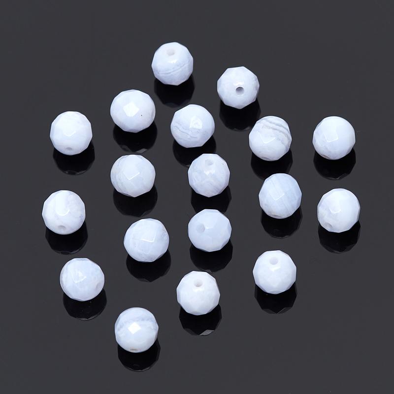 Бусина агат голубой шарик 5,5-6 мм огранка (1 шт) бусина говлит шарик 6 6 5 мм 1 шт