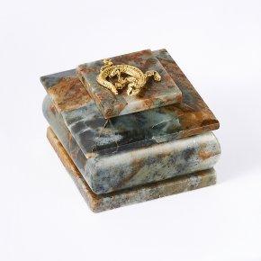 Шкатулка офиокальцит Россия 6х6х5,5 см