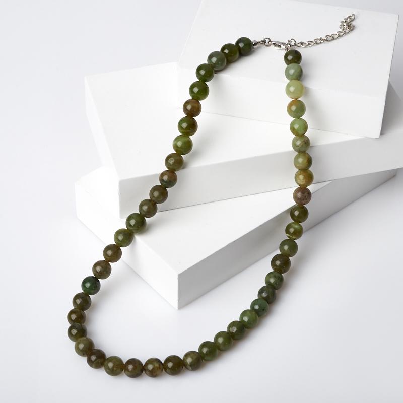 Бусы нефрит зеленый 9 мм 45-51 см (биж. сплав)