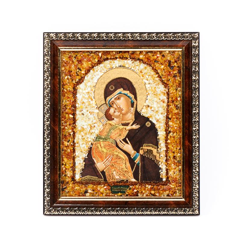 Изображение янтарь Богоматерь Владимирская 14х16,5 см яйцо декоративное sima land владимирская на подставке высота 12 см