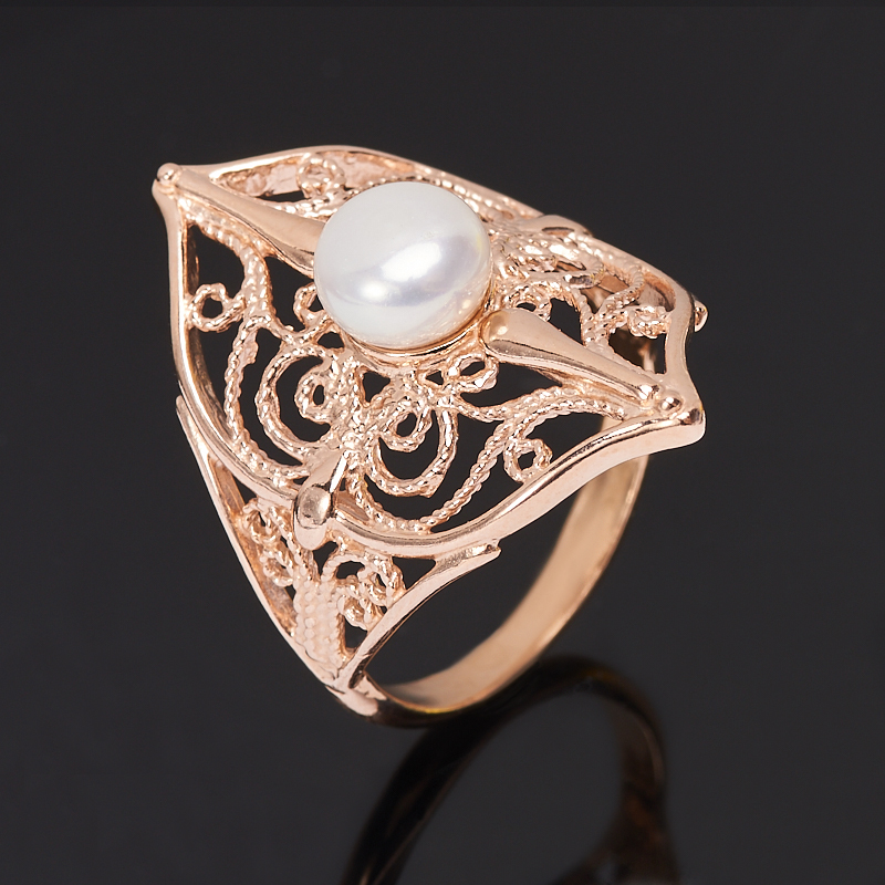 Кольцо жемчуг белый (серебро 925 пр., позолота) размер 19,5