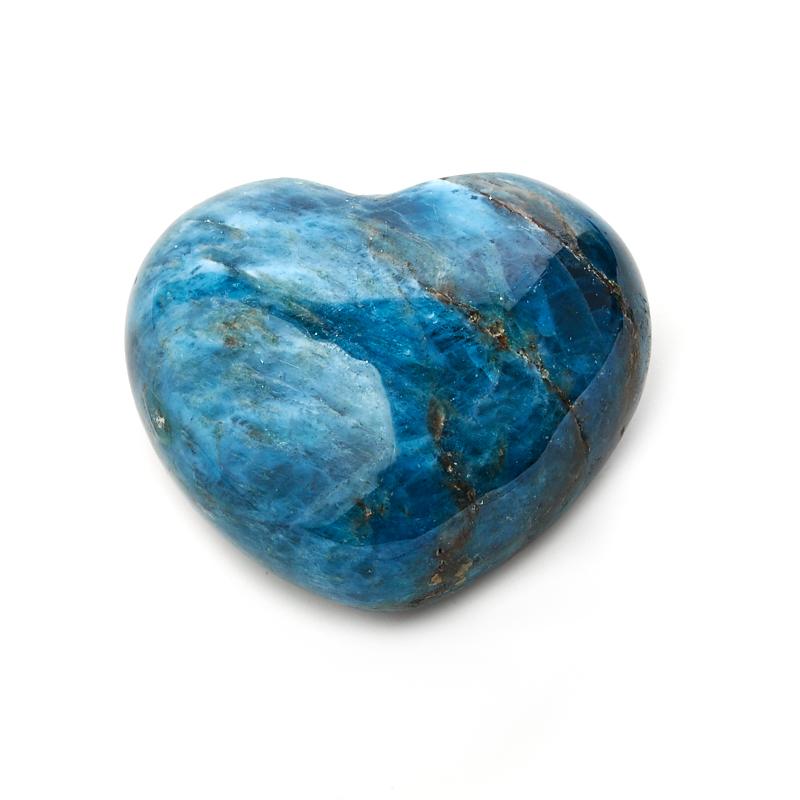 Сердечко апатит синий 4 см бусы апатит голубой 45 см