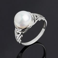 Кольцо жемчуг белый Гонконг (серебро 925 пр.) размер 17,5