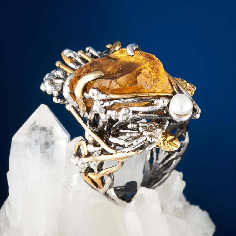 Кольцо цитрин (серебро 925 пр., позолота) (регулируемый) размер 17