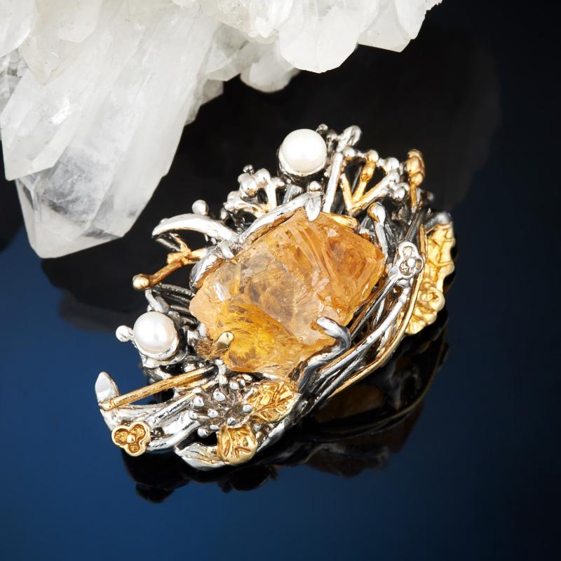 Брошь цитрин (серебро 925 пр., позолота)