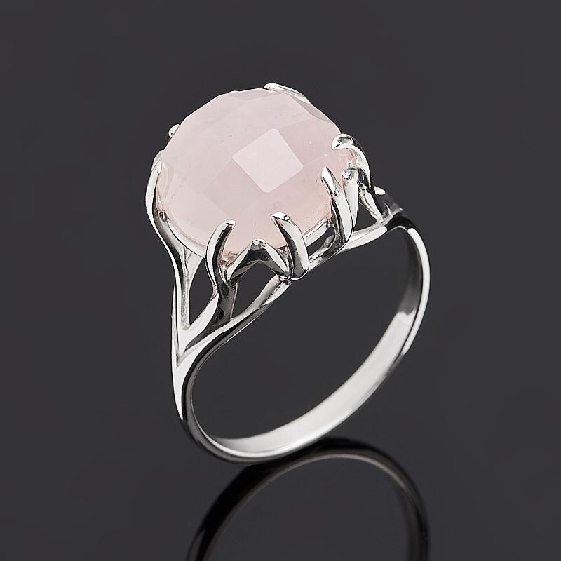 Кольцо розовый кварц огранка (серебро 925 пр.) размер 18