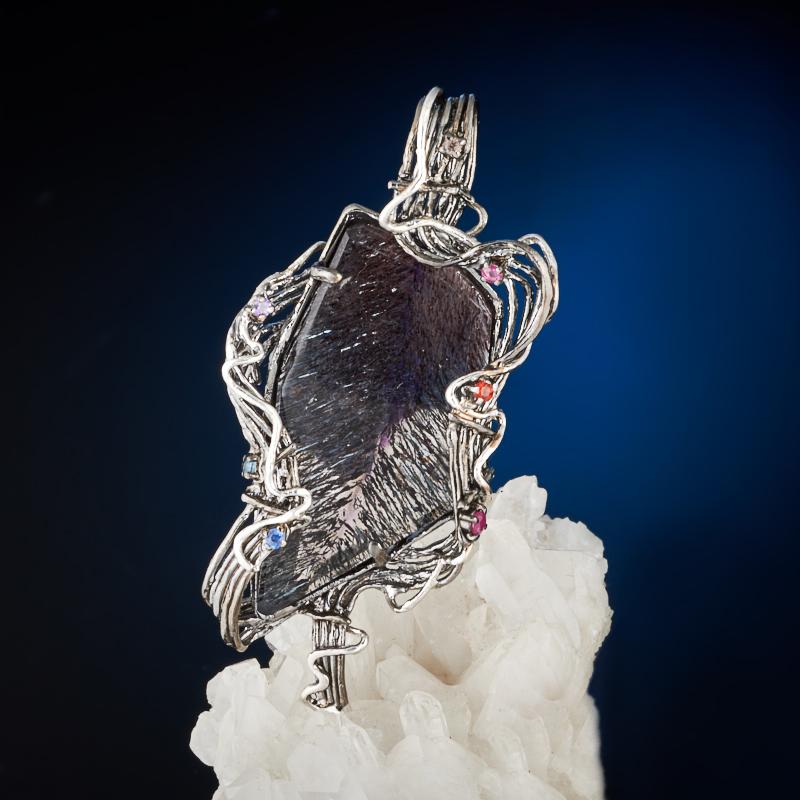 Кулон аметист рутиловый (серебро 925 пр., позолота)