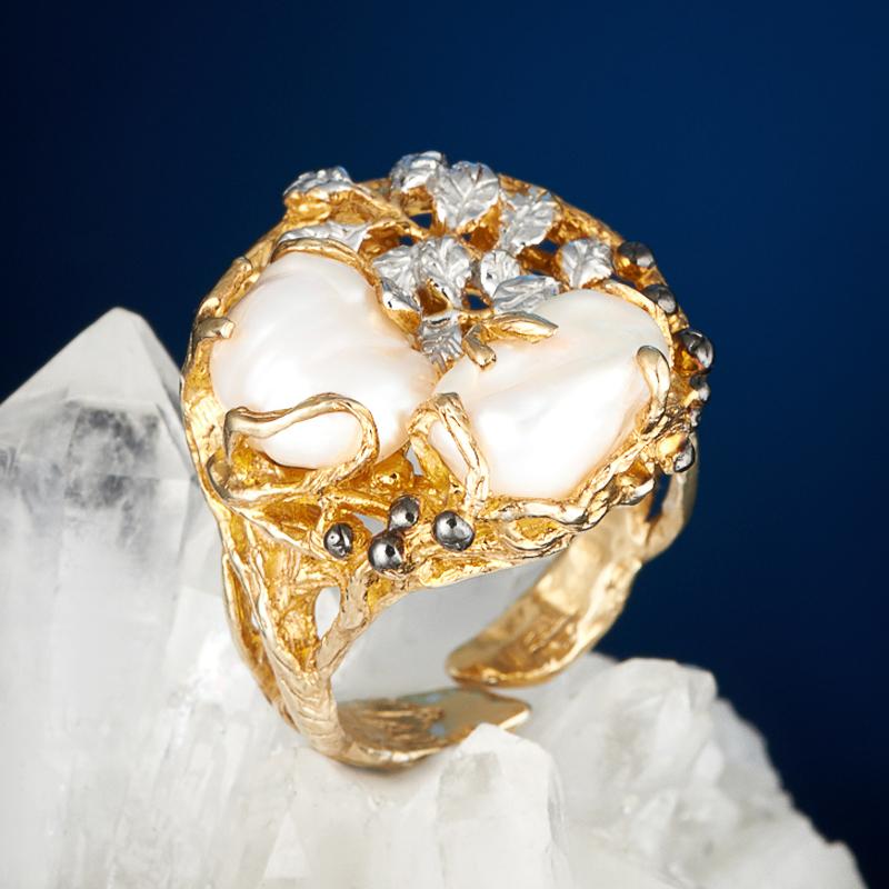 Кольцо жемчуг кеши белый (серебро 925 пр., позолота) (регулируемый) размер 17,5