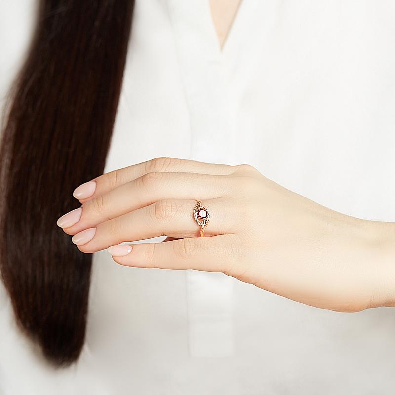 Кольцо гранат альмандин Индия огранка (серебро 925 пр., позолота) размер 16