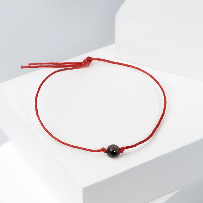 Браслет чароит красная нить Для силы воли (От зависимости) 6 мм регулируемый (текстиль)