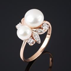 Кольцо жемчуг белый Гонконг (серебро 925 пр., позолота) размер 17,5