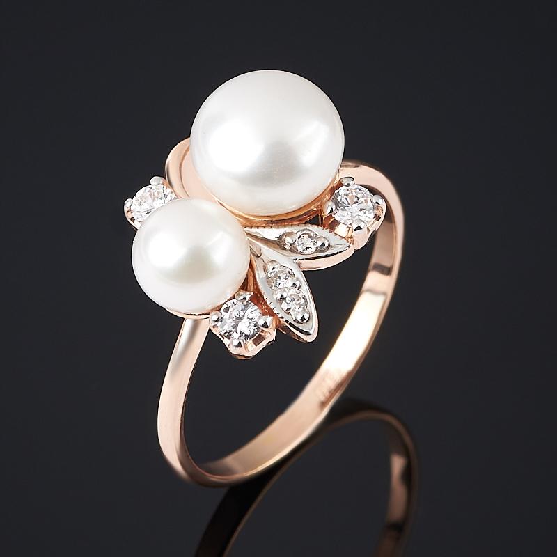 Кольцо жемчуг белый (серебро 925 пр., позолота) размер 17,5