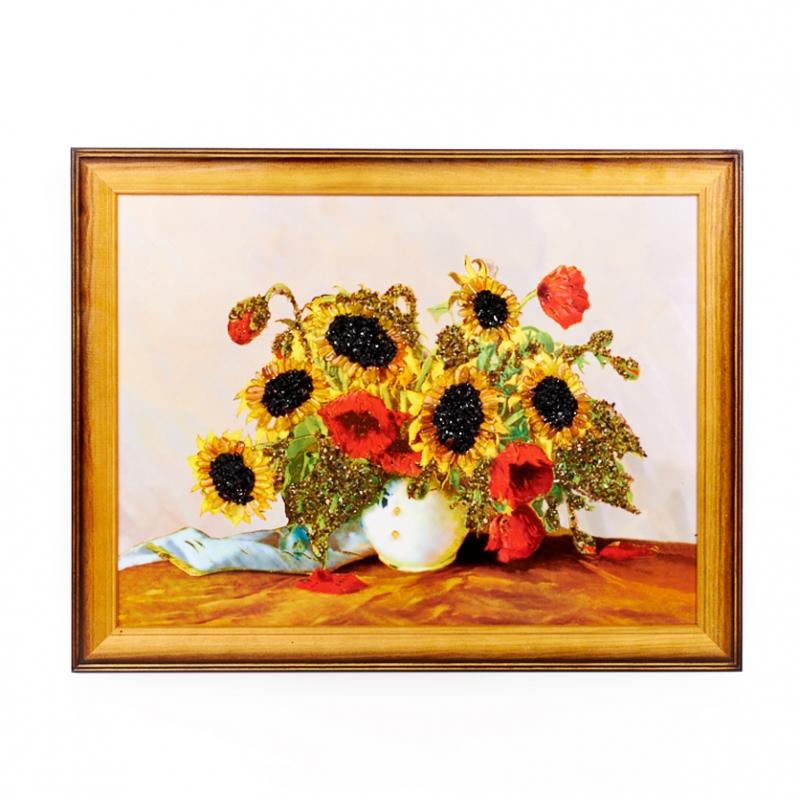 Картина Подсолнухи янтарь 30х40 см