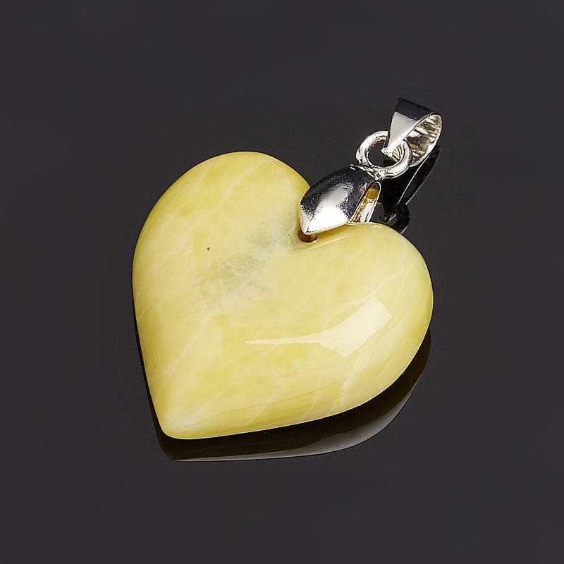 Кулон офиокальцит Россия сердечко (биж. сплав) 3,5-4 см