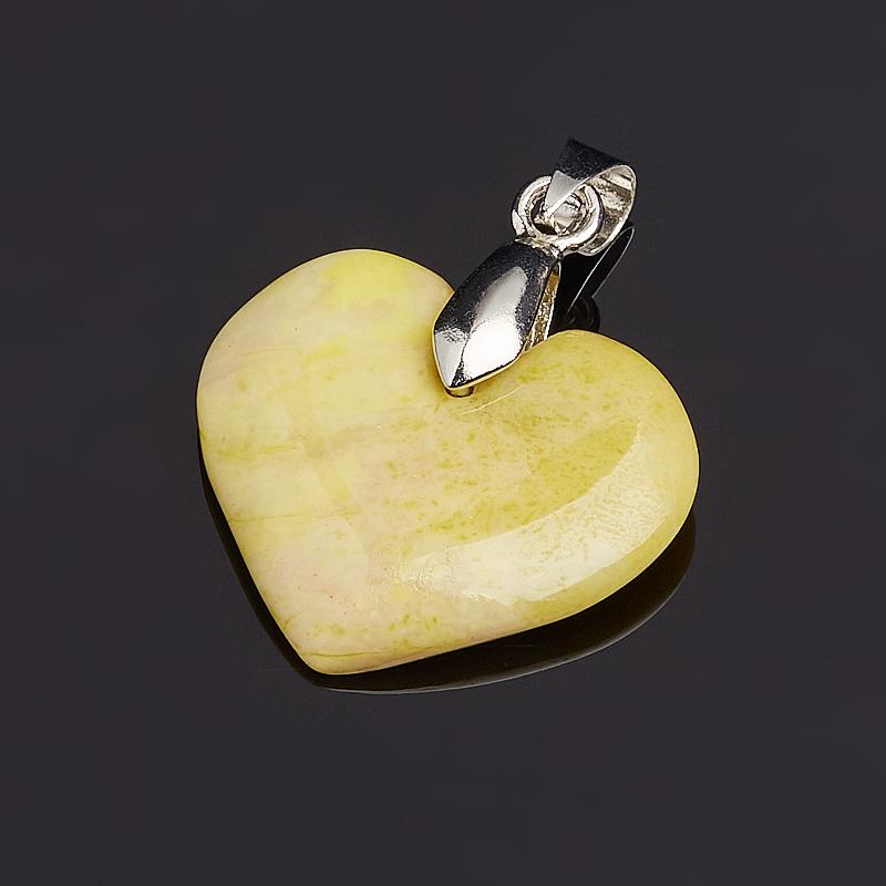 Кулон офиокальцит сердечко (биж. сплав) 3 см сердечко кальцит желтый 3 3 5 см