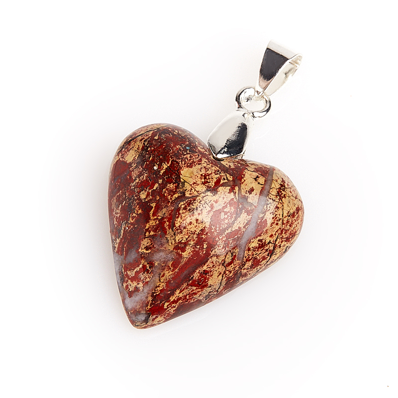 цены Кулон яшма красная сердечко (биж. сплав) 4 см