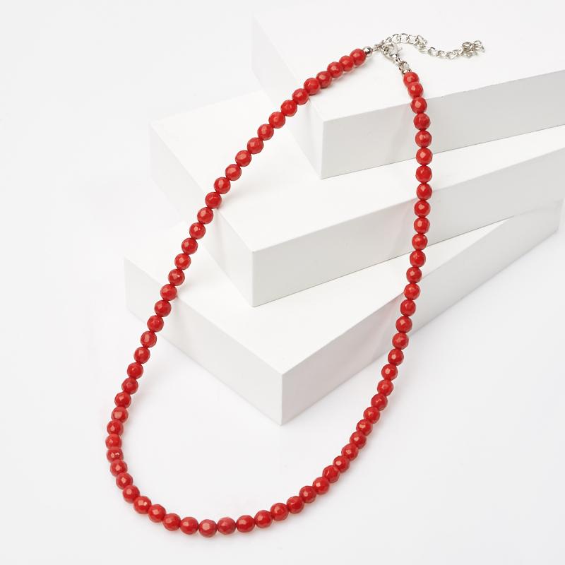 Бусы коралл красный огранка 5,5 мм 46 см (+7 см) (биж. сплав)