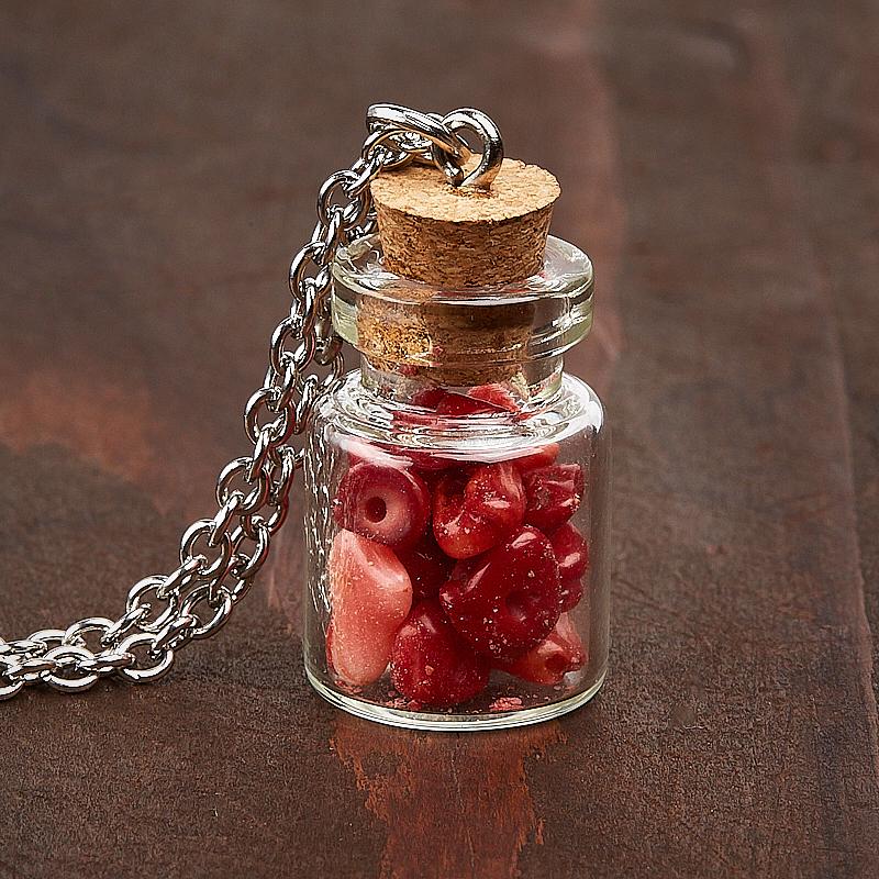 Кулон коралл красный  бутылочка (биж. сплав) 3 см