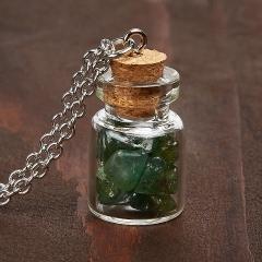 Кулон авантюрин зеленый Индия бутылочка (биж. сплав) 3 см