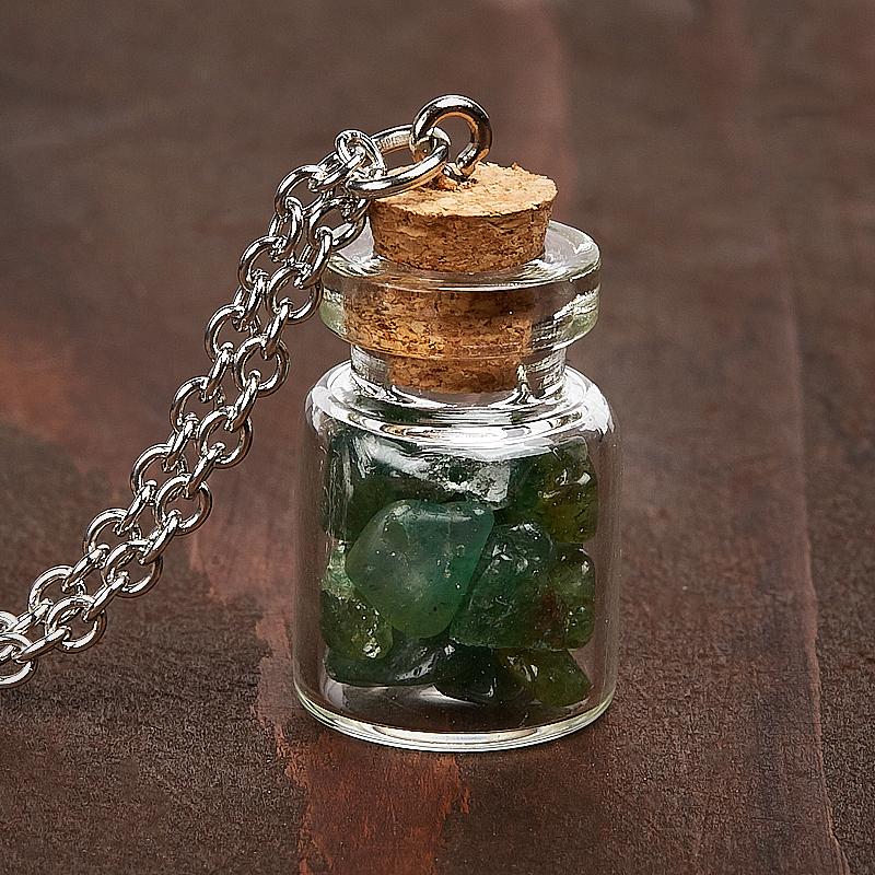 Кулон авантюрин зеленый бутылочка (биж. сплав) 3 см кулон гранат альмандин бутылочка биж сплав 3 см