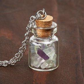 Кулон флюорит бутылочка (биж. сплав) 3 см