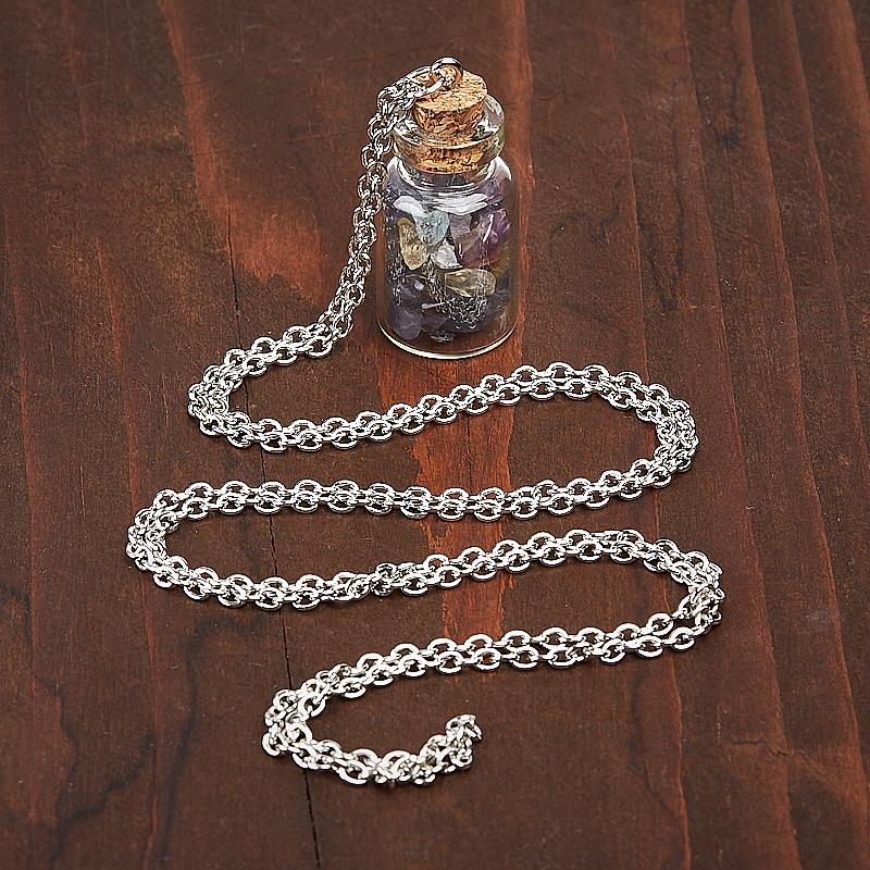 Кулон аметист, иолит (кордиерит), лабрадор, цитрин бутылочка (биж. сплав) 3,5 см
