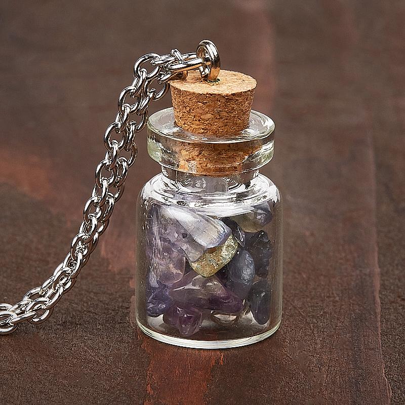 Кулон аметист, иолит (кордиерит), лабрадор, цитрин бутылочка (биж. сплав) 3 см