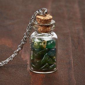 Кулон авантюрин зеленый Индия бутылочка (биж. сплав)