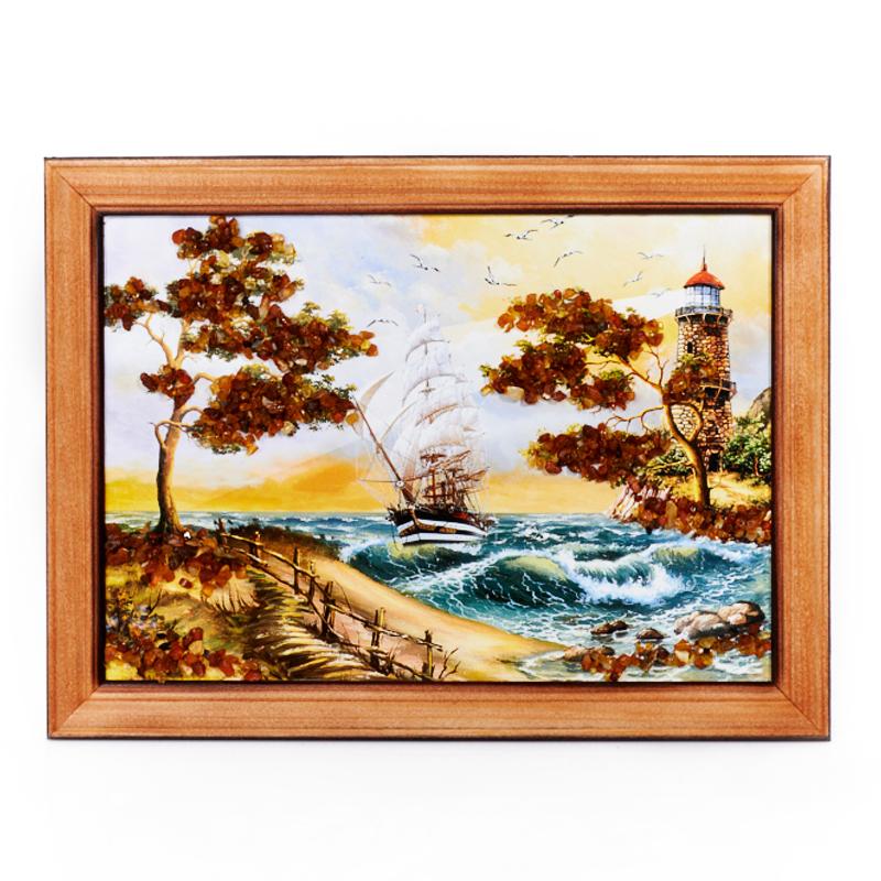 Картина Море янтарь 15х21 см