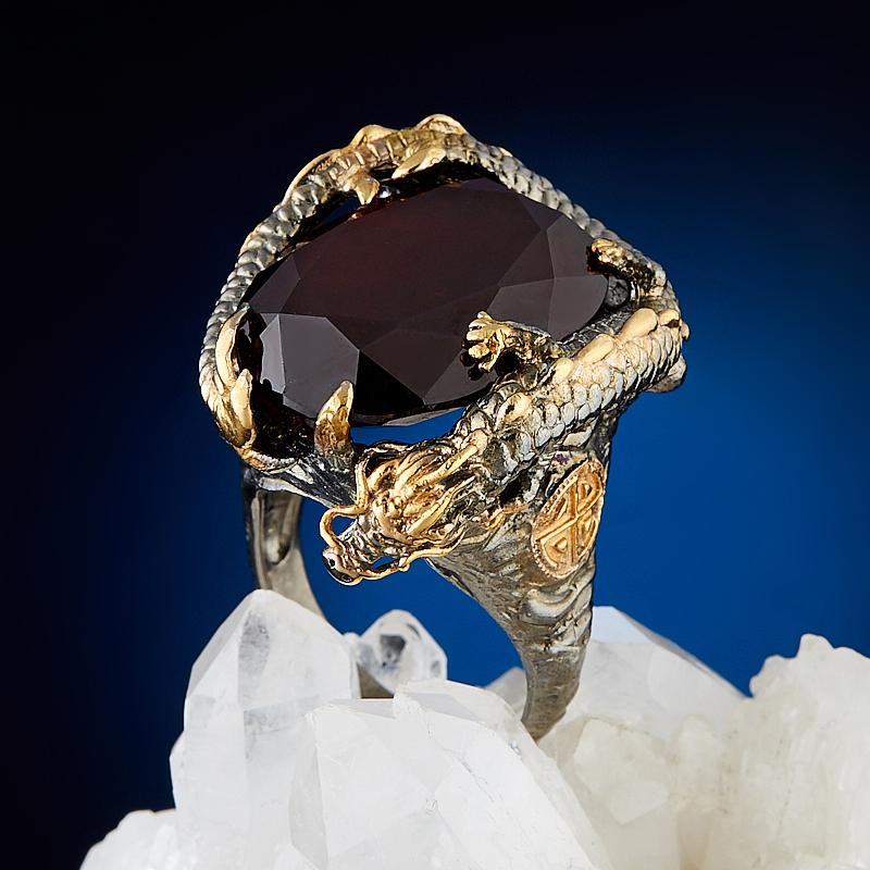 Кольцо гранат гессонит огранка (серебро 925 пр., позолота) размер 19