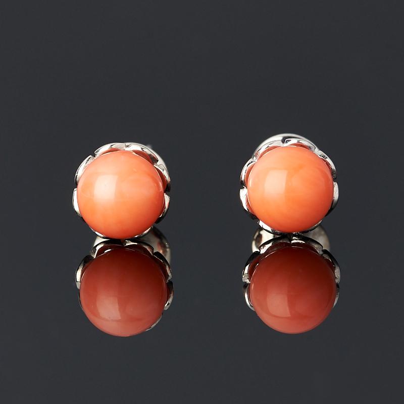 Серьги коралл оранжевый пуссеты (серебро 925 пр.)