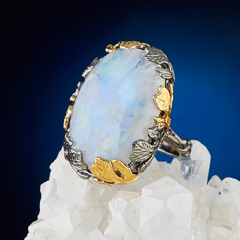 Кольцо лунный камень (серебро 925 пр., позолота) размер 18