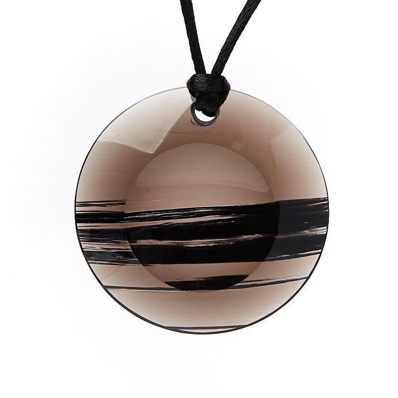 Кулон обсидиан прозрачный круг 5 см кулон жадеит круг 4 5 см