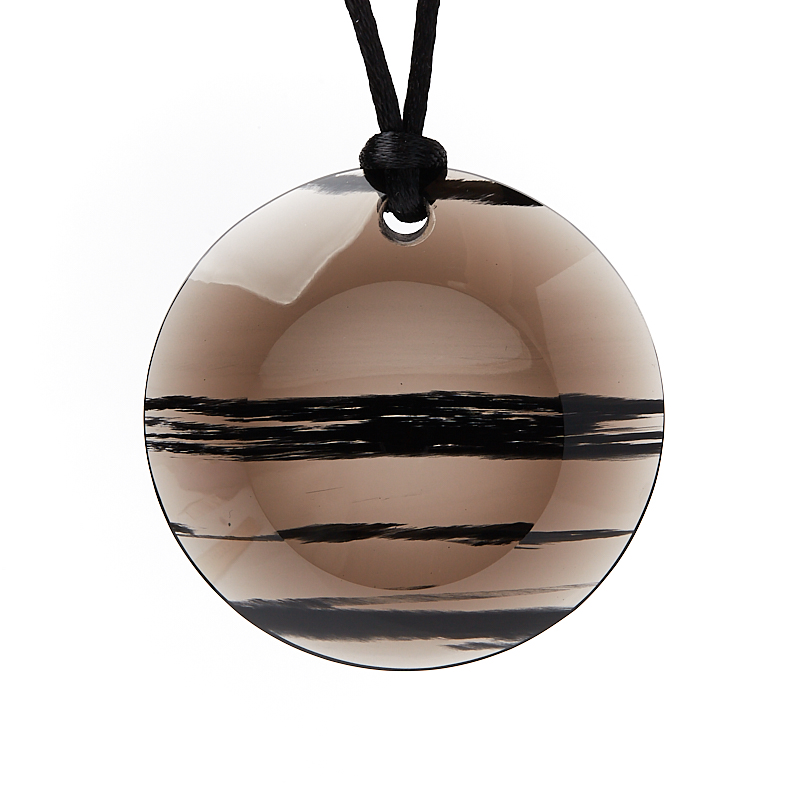 Кулон обсидиан прозрачный круг 5 см