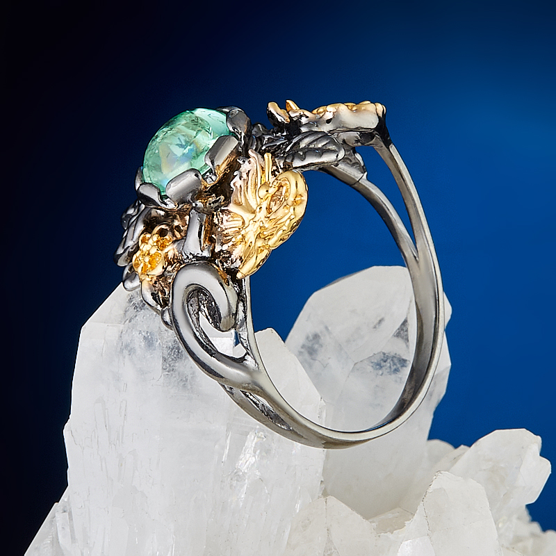 Кольцо турмалин зеленый (верделит) Бразилия (серебро 925 пр., позолота) размер 18