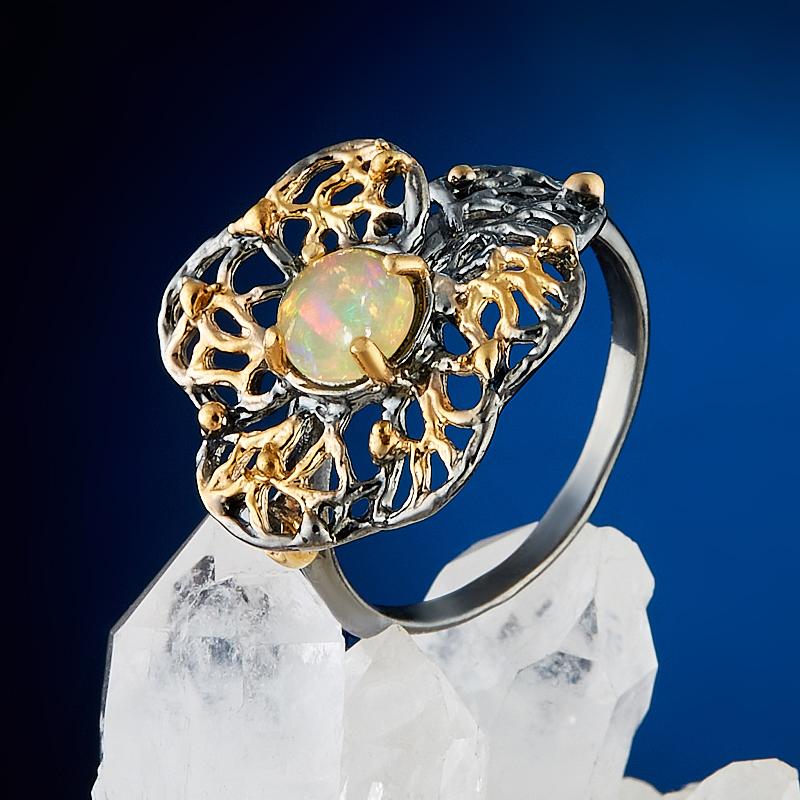 Кольцо опал благородный белый Эфиопия (серебро 925 пр., позолота) размер 18,5