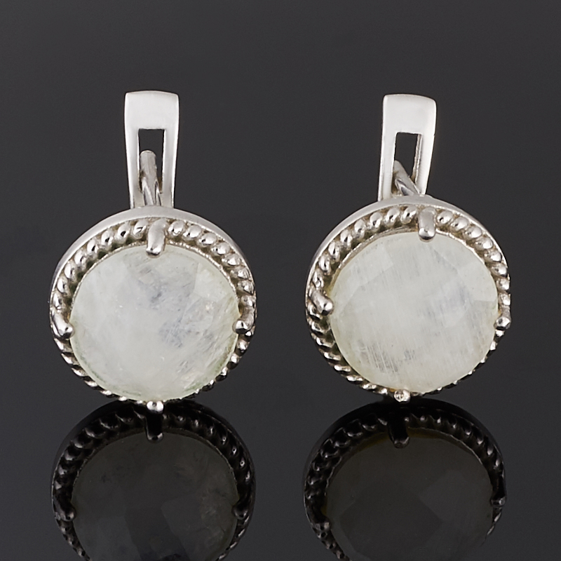 Серьги лунный камень огранка (серебро 925 пр.)
