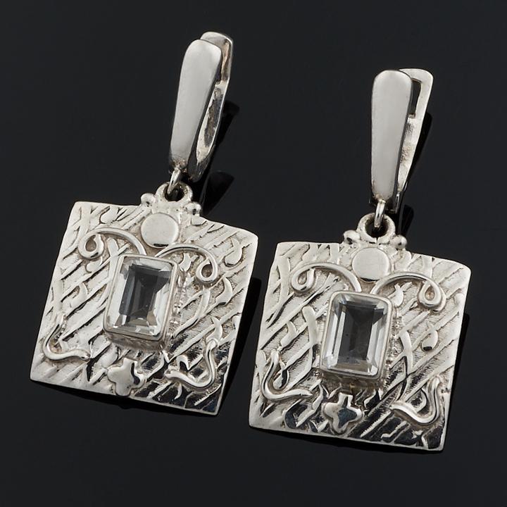 Серьги горный хрусталь огранка (серебро 925 пр.)