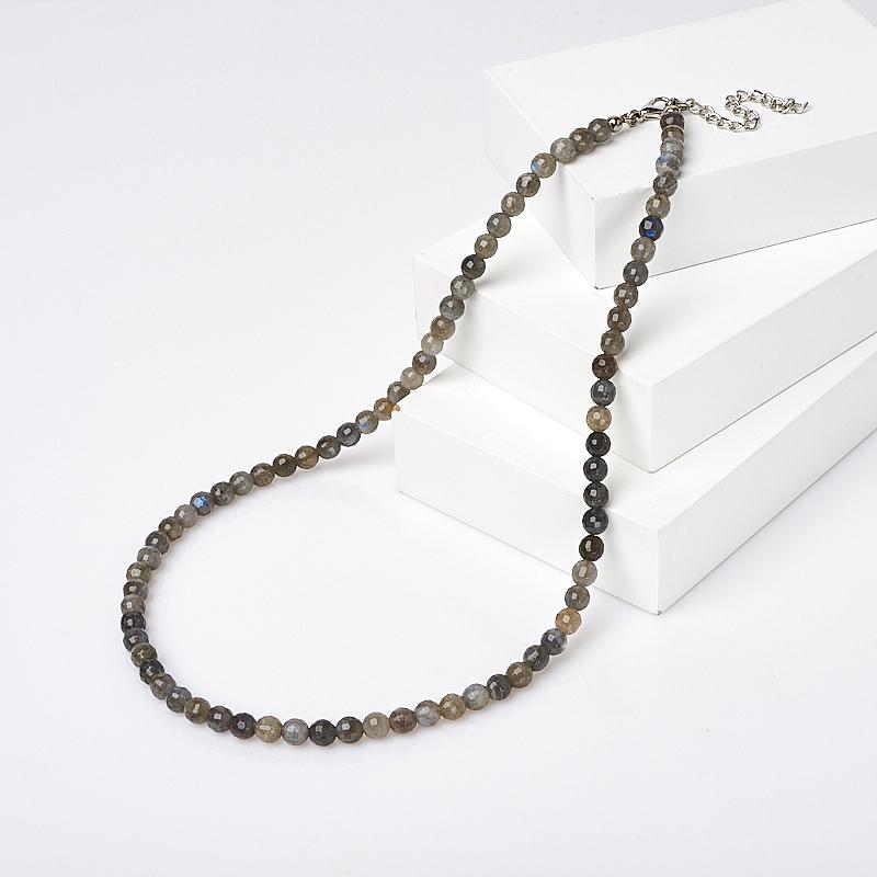 Бусы лабрадор огранка 6 мм 49 см (+7 см) (биж. сплав) кастрюля 0573 алюминиевый сплав 6 49 л