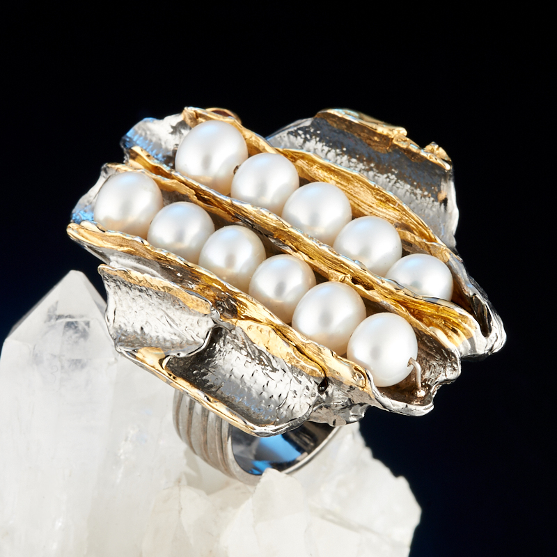 Кольцо жемчуг белый (серебро 925 пр., позолота) размер 17