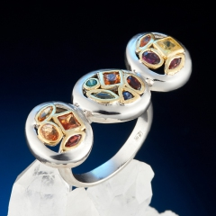 Кольцо гранат альмандин родолит цаворит огранка (серебро 925 пр. позолота) размер 17